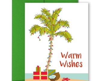 Cute Christmas Card - Cute Holiday Cards - Holiday Stationery - Box Set Xmas Cards - Tropical Xmas Cards -  Warm Wishes - Palm Tree - Beach