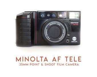 Vintage Minolta AF Tele 35mm Point & Shoot Film Camera