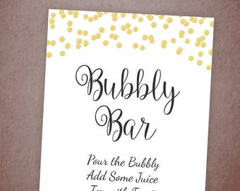 Bubbly Bar Sign Printable, Mimosa Bar Sign, Bridal Shower Decorations, Gold Confetti Wedding Sign, Cocktail Drink Sign, A001