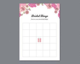 Bridal Shower Bingo Game Card, Pink Floral, DIY Bachelorette Bingo, Bridal Shower Games, Instant Download, Floral Wedding Bingo, A005