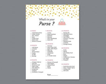 What's in Your Purse Bag, Bridal Shower Games Printable, Gold Confetti, Birthday Party Game, Girl Party, Purse Raid, Purse Hunt, A015