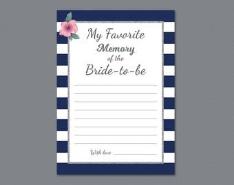 Kate Spade Favorite Memory of the Bride To Be Printable Game Card, Bridal Shower Games, Wedding Shower, Silver Navy Blue Stripes, A019