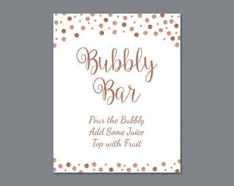 Bubbly Bar Sign Printable, Mimosa Bar Sign, Bridal Shower Decorations, Rose Gold Burgundy Confetti Wedding Sign, Cocktail Drink Sign, A009