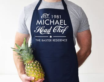 Personalised Apron - Head Chef, Sous-Chef - baking gift - kitchen gift - cooking gift - gift for her - gift for him - Gift for new home