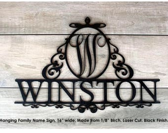 Family Name Sign. Medium. Winston Design. Laser Cut Birch Wood.
