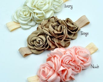 Fashion Layered Flower on Elastic Headband Handmade Fabric Flower Baby Headband For Children Hair Accessories