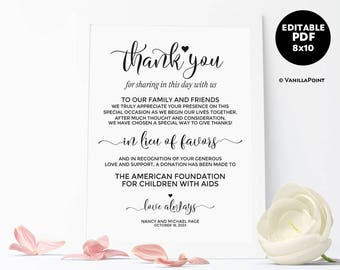In Lieu of Favors Sign, Wedding Donation Sign Wedding Donation Favor Cards Wedding Favor Sign, Printable Wedding Signs, Wedding Template PDF
