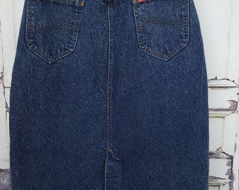 Vintage Lee Acid Wash Denim Skirt, 80's Midi Skirt, High Waisted Jean Skirt// Women's  waist  25 26 XS Small