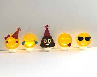 Emoji Inspired Decorations (Set of 5) with White Battery Powered Tea Lights / Group 1