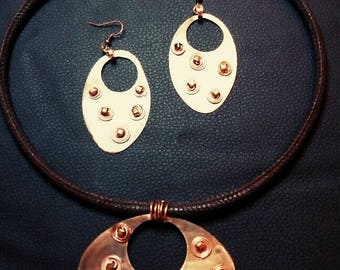 Handmade Copper Earrings&Necklace Set