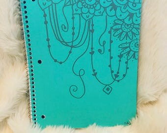 Hand drawn Zentangle Spiral Notebook- silver on a turqiouse notebook