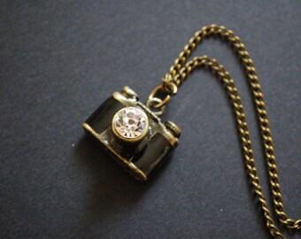 Bronze tone 3D camera necklace