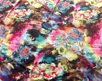 Flower print spandex fabric/sewing/costume/dance