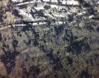 Foil Denim print spandex fabric for costumes/dance/ gymnastics