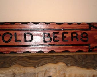 Cold Beer Rustic Sign