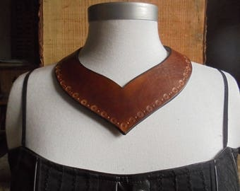 leather necklace, Choker Havana and flowers