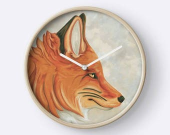 Red Fox on light gray background - bamboo frame portrait wall clock