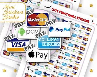 Bill Reminder Stickers Cute Pay Day Visa MasterCard Amex PayPal Mini Stickers Printable MAMBI Happy Planner Filofax Erin Condren Kawaii