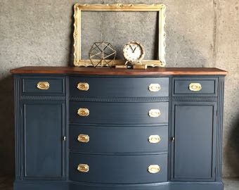 SOLD Navy Blue Buffet/Sideboard/Duncan Phyfe/Living Room Furniture/Buffet  Table