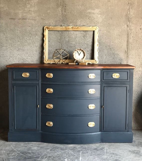 items similar to sold navy blue buffet sideboard duncan phyfe living room furniture buffet table. Black Bedroom Furniture Sets. Home Design Ideas