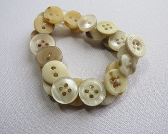 Beige upcycled button bracelet