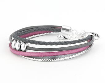 Bracelet 5 cords, gray and pink - 3 balls