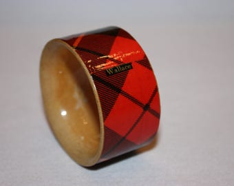 Mauchline Tartan Ware 'Wallace Tartan' Napkin ring victorian treen Scottish table decor