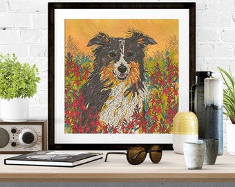 Giclee Print - 'Cardinal Collie' Border Collie Dog Art Print