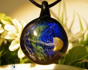 Lampworked Jellyfish Underwater Glass Pendant