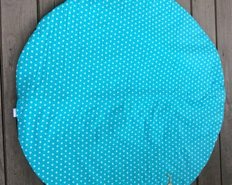 Aqua & white dot 1m Circular, padded indoor playmat, baby playmat, tummy time mat with heavy duty drill backing