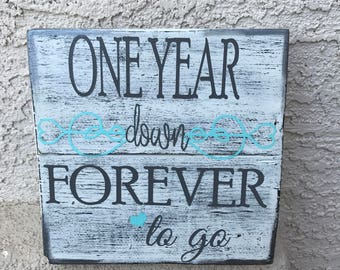 Custom Anniversary wood plaque in 2 sizes  hand painted sign distressed shabby chic rustic white tiffany blue