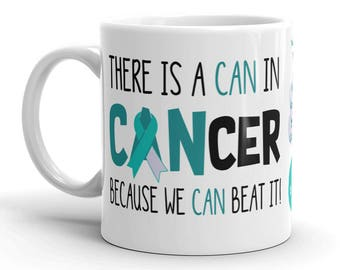 Cervical Cancer Awareness Coffee Cup Can Beat It Novelty Ceramic Mug Teal and White Ribbon Custom Gift Survivor Support 11 & 15 ounce