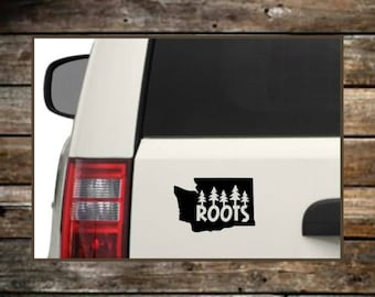 Washington Roots Decal / 12 Colors / WA State Decal / Nature Decals / Laptop Decals / Car Decals / Computer Decals / Window Decals