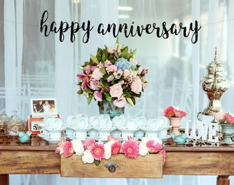 ANNIVERSARY BANNER, Happy Anniversary Banner, Wedding Anniversary banner, Anniversary Party Decorations, Anniversary Party Decor