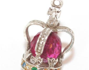 Vintage Sterling Silver Bracelet Charm Crown Pink Crystal Set (2.5g)