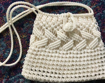 White Vintage Woven Plastic Macrame Bag with Straps