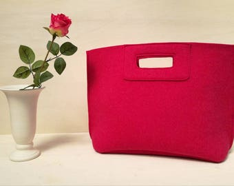 Casual elegant fuchsia bag, felt bag, week end bag, hand bag, Italian bag, pink shopper, shopping bag, hand made in Italy, BeFeltBag