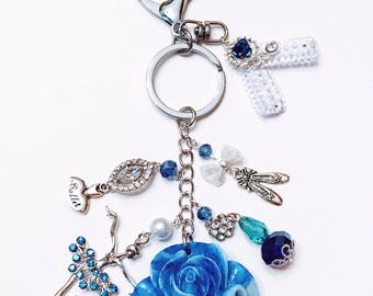 "Ballerina Bag Charm ""Blue Rose"""