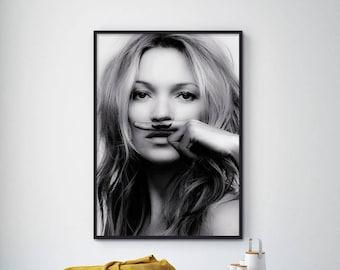 SALE!!! Kate Moss Print, Kate Moss Poster, Kate Moss Photo, Life is Joke, Moustache Print, Fashion Print, Fashion Wall Art