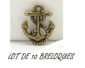 set of 10 charms anchor sailor sea color bronze (T33)