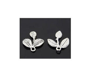 SET of 5 charms 3 leaf triple silver colored (C07)