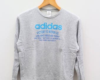Vintage ADIDAS Victory Is Within Us Sportswear Gray Sweatshirt Sweater