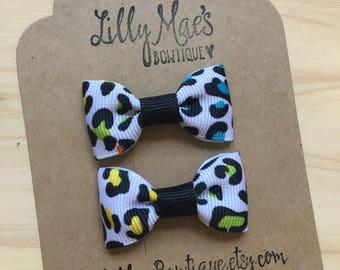 Leoard print Mini Tuxedo Hair Bows, baby & toddler hair clip, mini bow