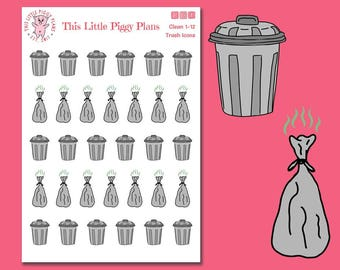 Trash Cans and Trash Bags Icons - Planner Stickers - Trash Day Stickers - Take out Trash Stickers - Trash Day Reminder - [Clean 1-12]