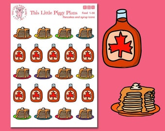 Pancakes and Syrup Planner Stickers - Pancakes Stickers - Breakfast Icons stickers - Brunch - Brinner - Food Planner Stickers - [Food 1-26]