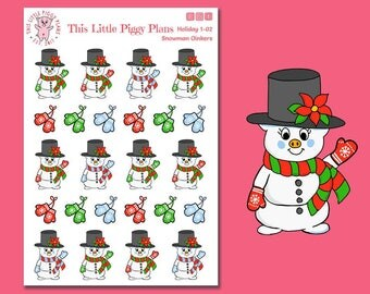 Snowman Oinkers - Snowman Planner Stickers - Christmas Planner Stickers - Holiday Stickers - Winter - Mittens - Snowmen - [Holiday 1-02]