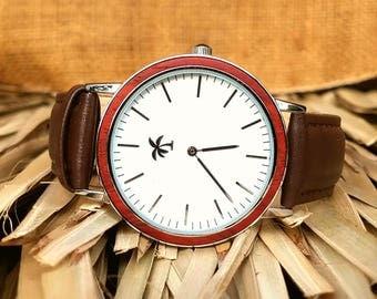 KONA SERIES (Chrome) - Wood Watch, Wooden Watch, Present, Gift, Wood Watches, Wooden Watches, Mens Watch, Ladies Watch, Island Jewelry