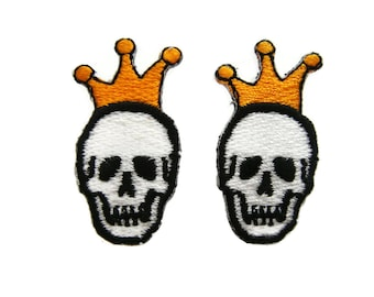 Skull Patches Crown Patch Applique Embroidered Iron on Patch