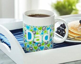 "colorful doodle ""dad"" ceramic mug"