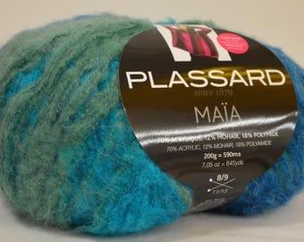 """Wool Plassard """"Maia"""" gradient blue green"""